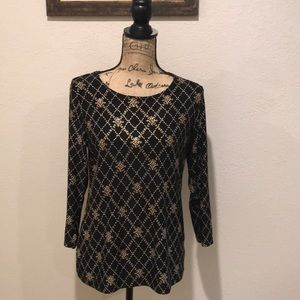 Nwot JM Collection Black And Gold Blouse